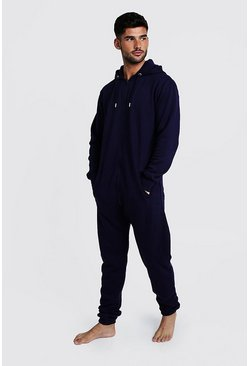 Navy Zip Through Hooded Onesie