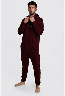 Burgundy Zip Through Hooded Onesie