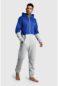 Mens Bright blue Colour Block Onesie