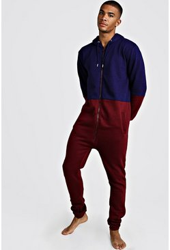 Burgundy Colour Block Onesie