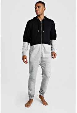 Mens Grey Colour Block Onesie