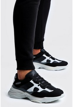 Mens Black Mono Colour Chunky Trainer