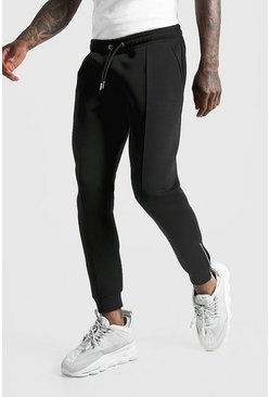 Black MAN Signature Scuba Pintuck Joggers