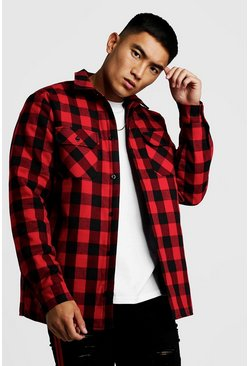 Red Quilted Check Over Shirt