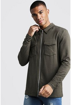 Mens Khaki Muscle Fit Jersey Utility Shacket