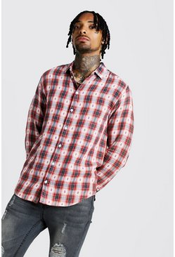 Rust Acid Wash Long Sleeve CheckShirt