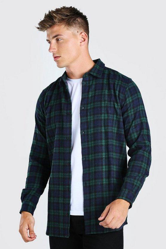 Long Sleeve Longline Flannel Check Shirt by Boohoo Man