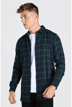 Mens Green Long Sleeve Longline Flannel Check Shirt