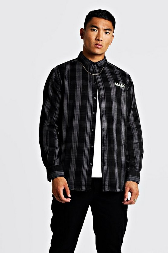 Charcoal MAN Oversized Long Sleeve Check Shirt