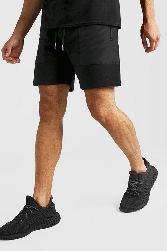 Mens Black MAN Signature Mid Length Short With Nylon Pockets