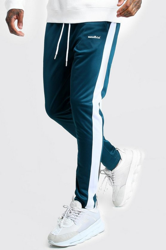 Mens Teal MAN Official Tricot Joggers With Side Tape