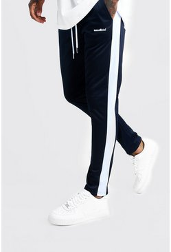 Mens Navy MAN Official Tricot Joggers With Side Tape