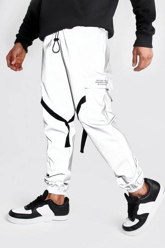 Reflective Utility Joggers With Man Print by Boohoo Man