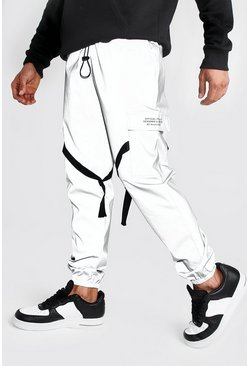 Mens Silver Reflective Utility Joggers with MAN Print