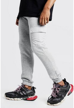 Mens Grey MAN Signature Jogger With Nylon Pockets