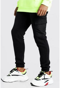 Mens Black MAN Signature Jogger With Nylon Pockets