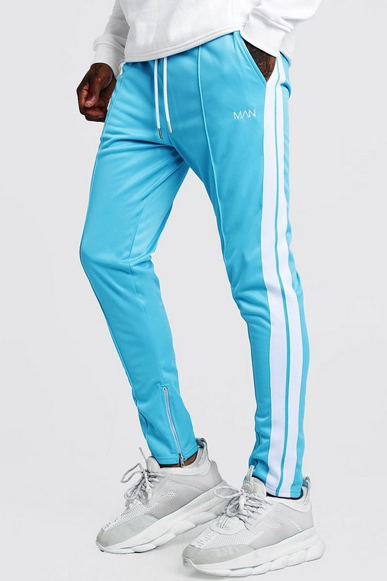 Mens Blue Original MAN Tricot Pintuck Joggers With Zips