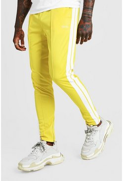Mens Yellow Original MAN Tricot Pintuck Joggers With Zips