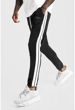 Mens Black MAN Signature Velour Pintuck Joggers With Tape