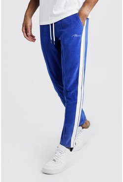 Mens Cobalt MAN Signature Velour Pintuck Joggers With Tape