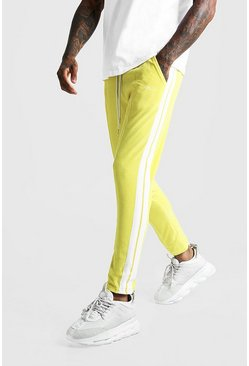 Mens Yellow MAN Signature Velour Pintuck Joggers With Tape