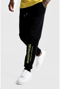 Mens Black MAN Official 3D Embroidered Jogger