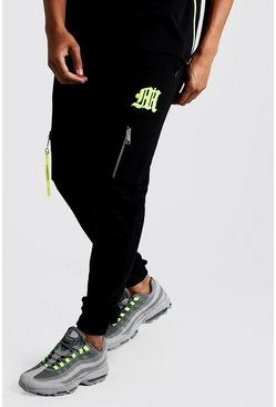 Mens Black M Embroidered Utility Pocket Jogger