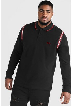 Big & Tall Polo With Tape Detail, Black, HOMMES