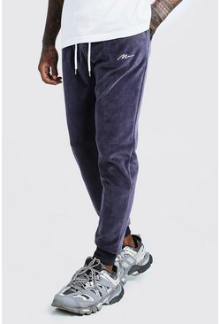 Mens Dark grey MAN Signature Velour Slim Fit Joggers