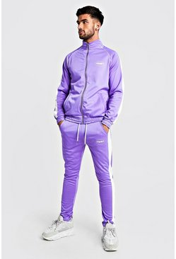 Mens Purple MAN Funnel Neck Tricot Tracksuit With Side Tape