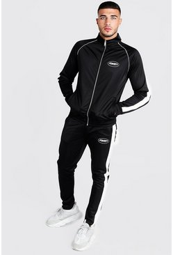 Mens Black MAN Funnel Neck Tricot Tracksuit With Side Tape