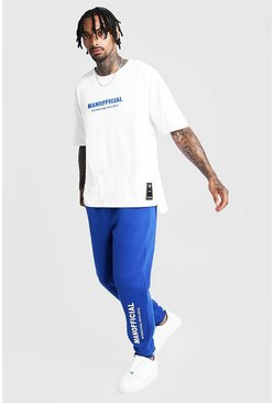 Mens Cobalt 3D MAN Official Embroidered Step Hem Tracksuit
