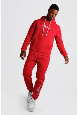 Mens Red 3D MAN Signature Embroidered Hooded Tracksuit