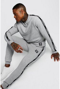 Grey Sweater Tracksuit With MAN Tape & Badge