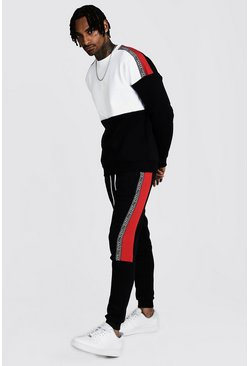 Mens Black Colour Block Sweater Tracksuit With MAN Tape