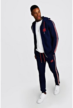 Mens Navy MAN Official Zip Through Tracksuit With Side Tape