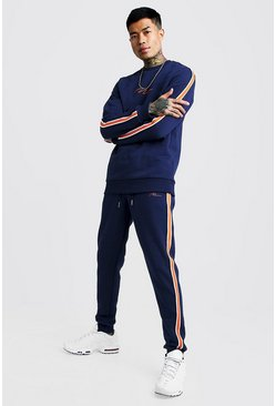Mens Navy MAN Signature Sweater Tracksuit With Tape Detail
