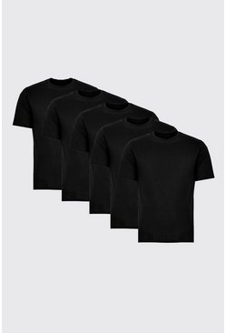 Mens 5 Pack Black Basic Crew Neck T-Shirts