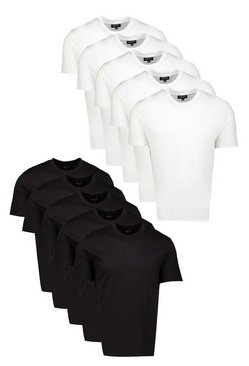 Mens 10 Pack Multi Basic Crew Neck T-Shirts