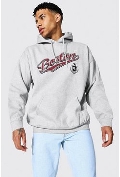 Oversized Boston Varsity Printed Hoodie, Grey marl