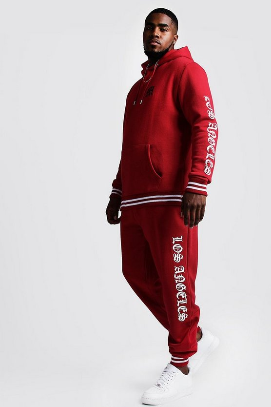 Mens Red Big & Tall Tracksuit With Embroidery