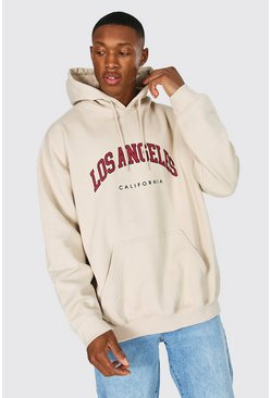 Sand Oversized Los Angeles Printed Hoodie