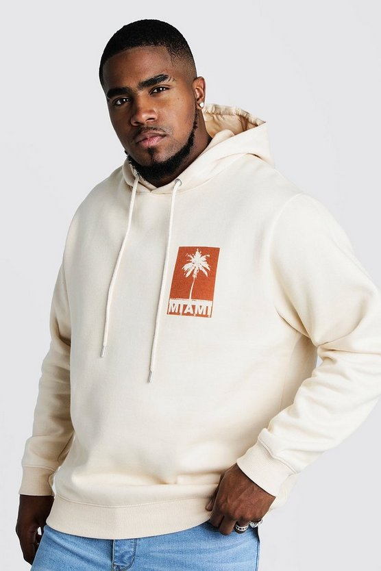 Mens Ecru Big & Tall Front & Back Print Hoodie