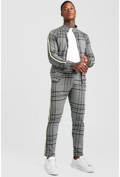Mens Khaki MAN Signature Jacquard Funnel Tape Tracksuit