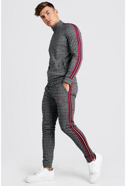 Mens Raspberry MAN Signature Skinny Fit Jacquard Tracksuit With Tape