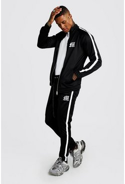 Mens Black Reflective 'M' Funnel Neck Tricot Tape Tracksuit