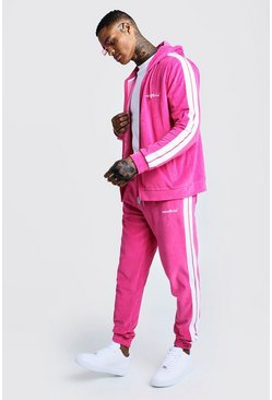 Mens Raspberry MAN Official Velour Tracksuit With Side Tape