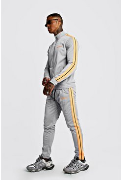 Mens Light grey MAN Tricot Funnel Neck Neon Tape Tracksuit