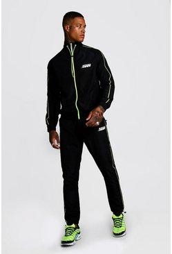 Mens Black M Orbit Shell Funnel Neck Neon Detail Tracksuit