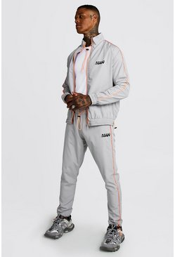 Mens Grey M Orbit Shell Funnel Neck Neon Detail Tracksuit